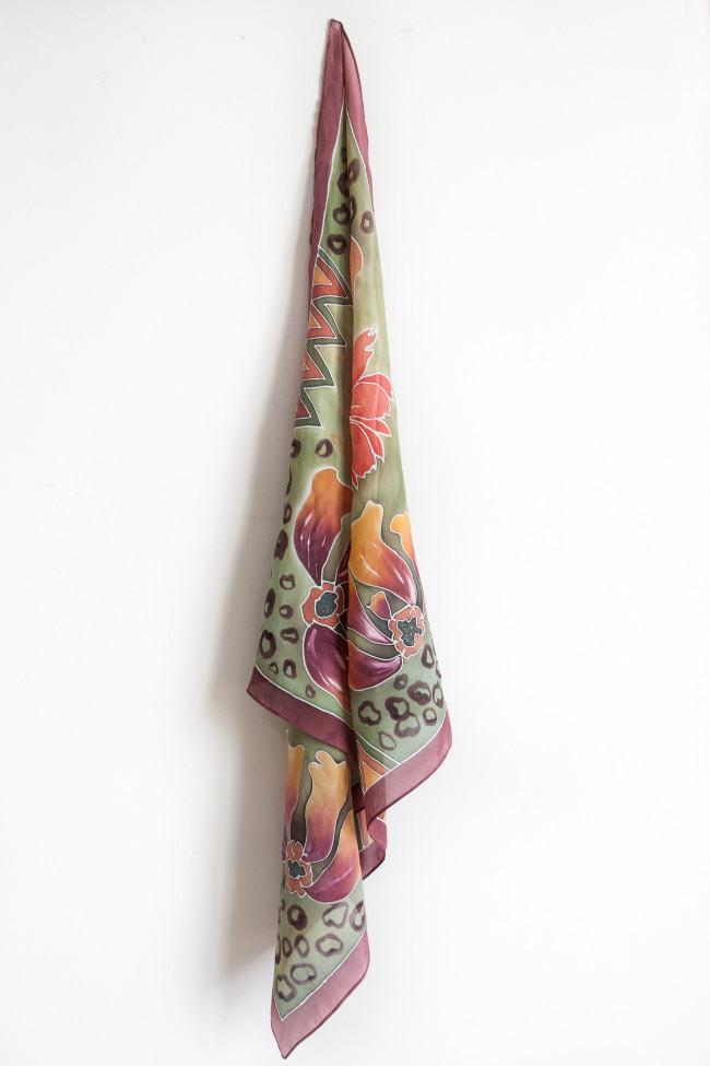 Foulard imprimé tableau floral
