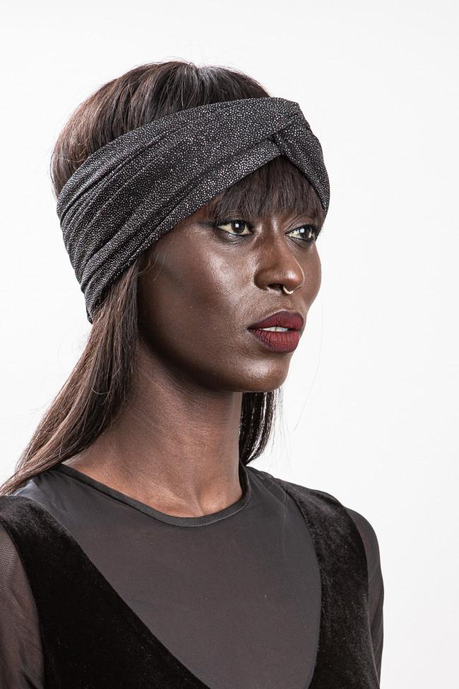 Turban noir brillant