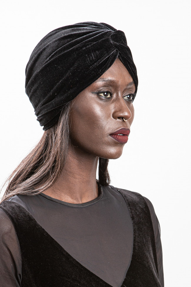 Turban noir en velour