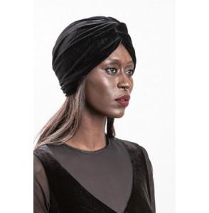 Turban noir en velour