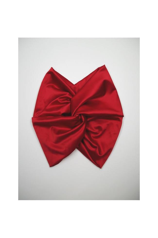 Turban en satin effet soie rouge