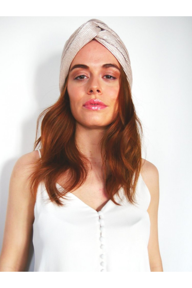 Turban en jersey plissé stretch rose métallique