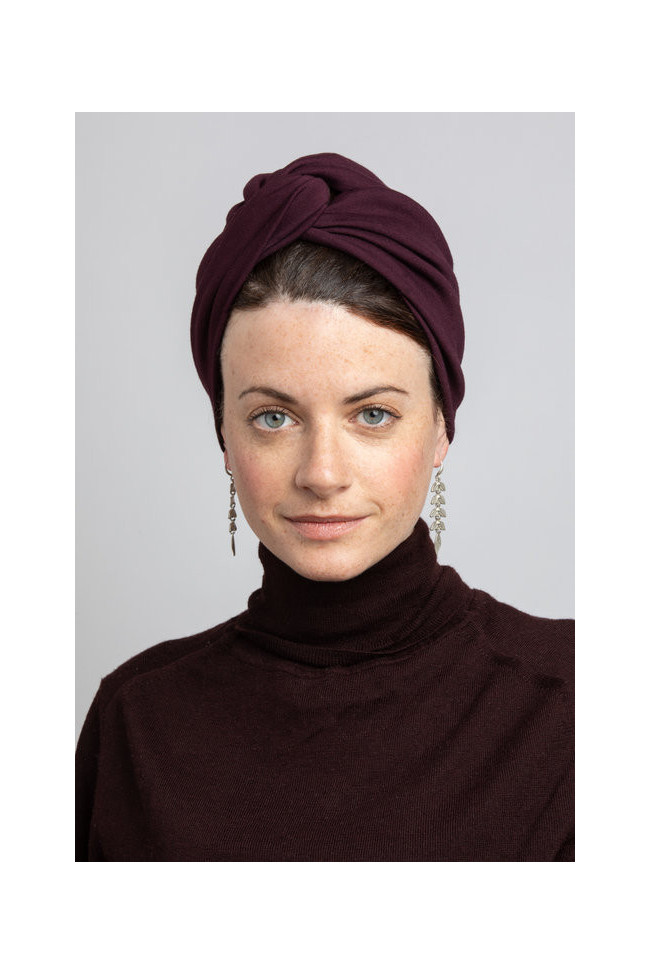 Turban en jersey prune extensible