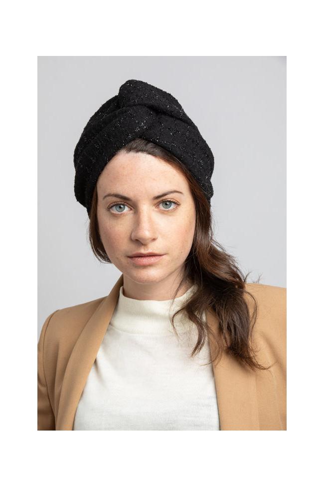 Bandeau noir en laine et fil de lurex brillant