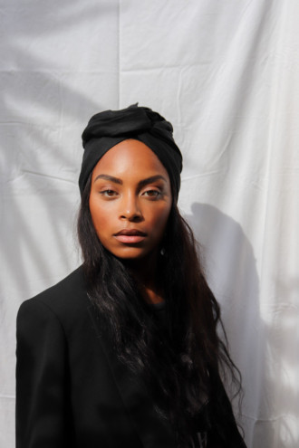Turban en lin noir