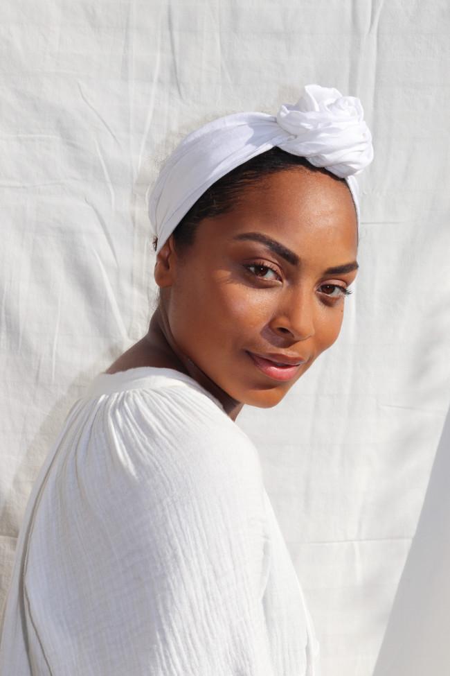 Turban en lin blanc