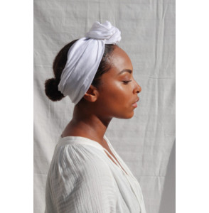Headband lin blanc